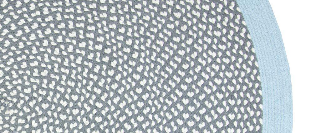 Tappeto rotondo in cotone blu e grigio 120 cm BRENDA
