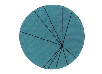 Tappeto rotondo, in cotone, colore: Blu petrolio, diametro: 160cm, modello: RADIUM