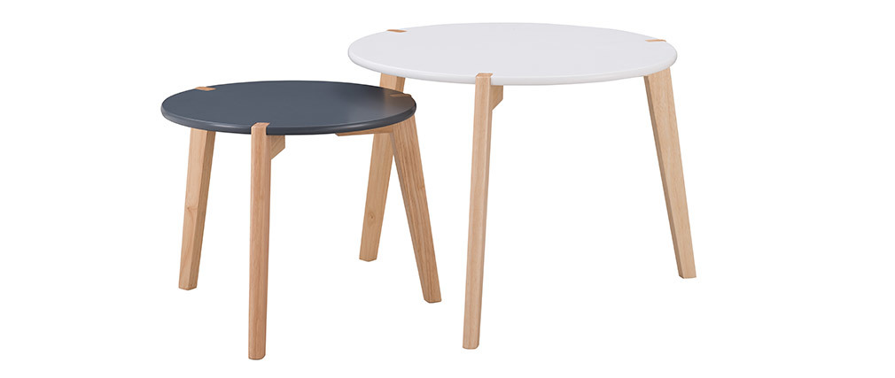 Tavolini a scomparsa design Grigio e Bianco con gambe in legno chiaro lotto di 2 KOBE