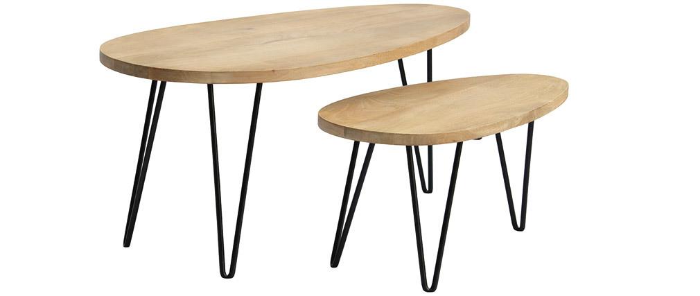 Tavolini a scomparsa in legno massello di mango e metallo (set di 2) VIBES