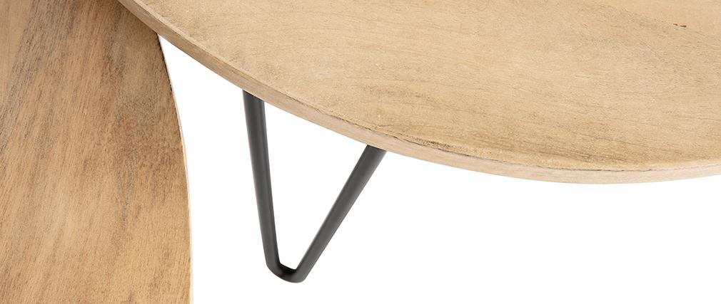 Tavolini a scomparsa rotondi in mango e metallo (lotto di 2) VIBES