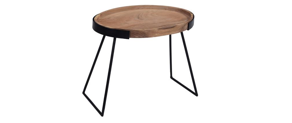 Tavolini bassi a scomparsa in metallo e acacia ELAVO