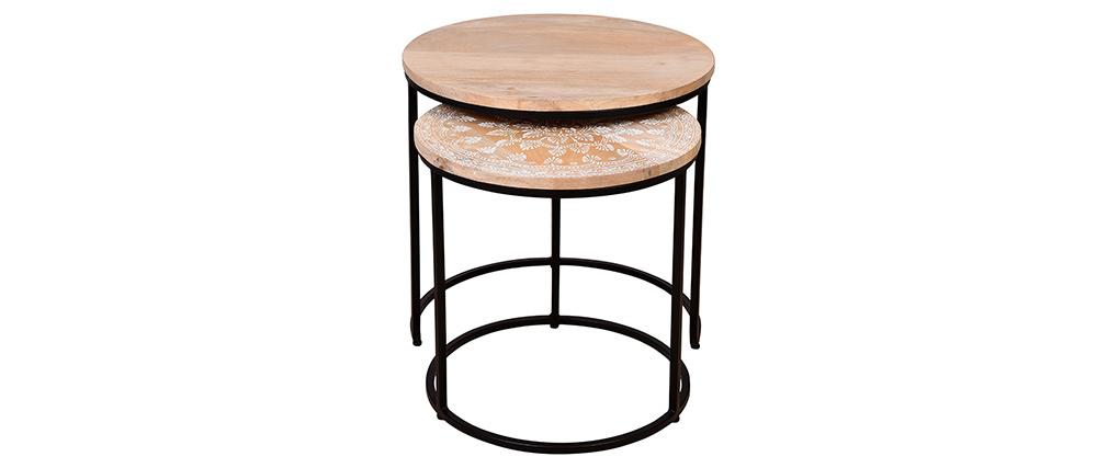 Tavolini bassi a scomparsa mango e metallo TOGETHER