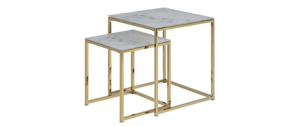 Tavolini bassi a scomparsa quadrati effetto marmo e piedi in metallo SILAS