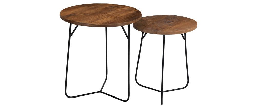 Tavolini bassi a scomparsa rotondi in acacia e metallo AQUILA