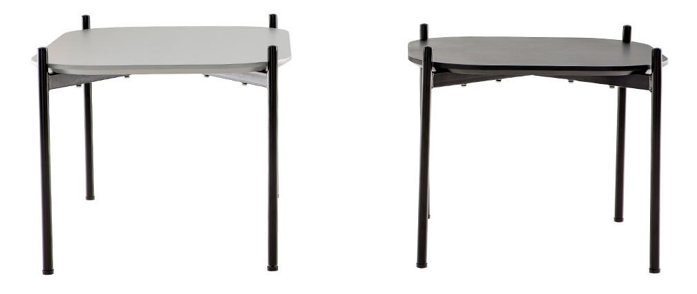 Tavolini bassi design dimensioni 75 e 50 cm Grigio/Nero piedi in metallo lotto di 2 SEGA