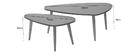 Tavolini bassi design grigi chiari e legno naturale ARTIK