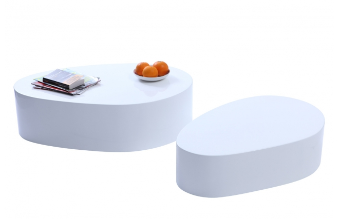 tavolini bianchi bassi in legno : Tavolini bassi design laccati bianchi CAMILLE (gruppo di 2) - Miliboo