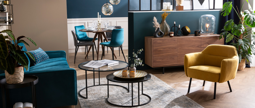 Tavolini bassi di design TAHL in vetro e metallo