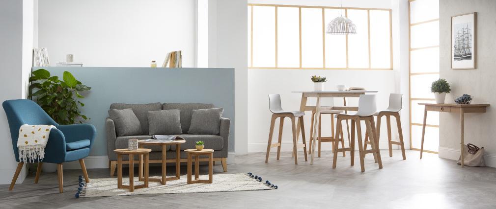 Tavolini bassi estraibili rotondi in massello di rovere set di 3 DANAKIL
