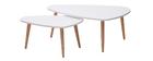 Tavolini bassi estraibili scandinavi bianchi e leno chiaro (set di 2) ARTIK