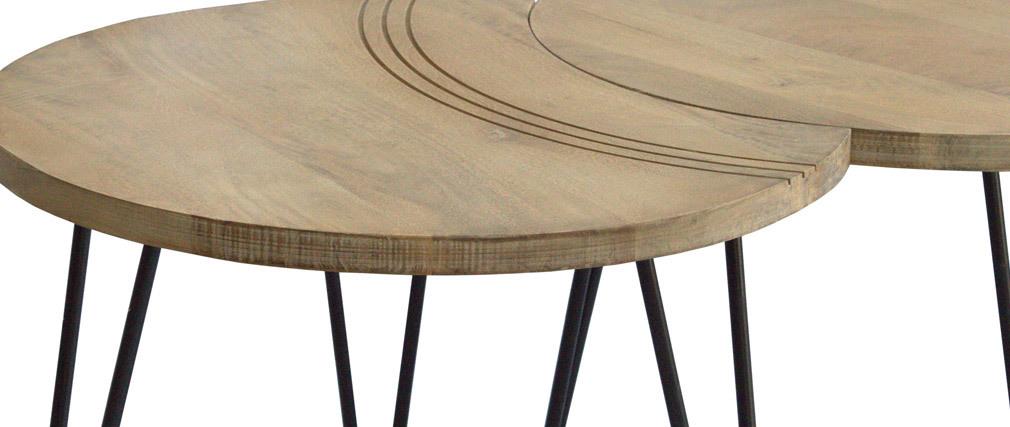 Tavolini bassi incisi mango e metallo nero (gruppo di 3) VIBES