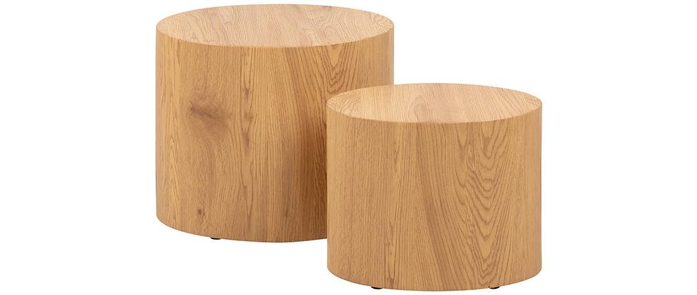 Tavolini bassi ovali in legno chiaro (set di 2) WOODY