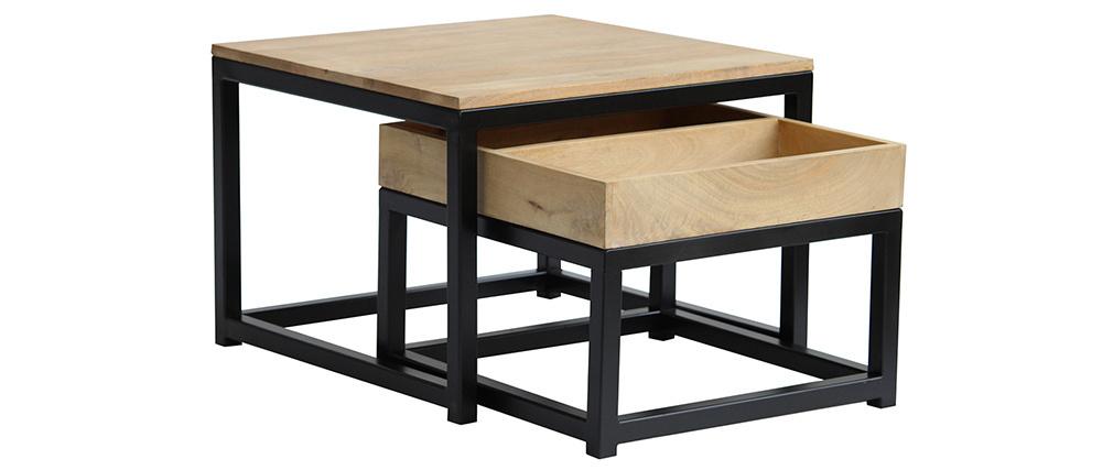Tavolini da caffè quadrati a incastro in legno di mango e metallo (set di 2) FACTORY