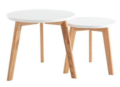 Tavolini rotondi gruppo di 2 quercia e bianco GILDA