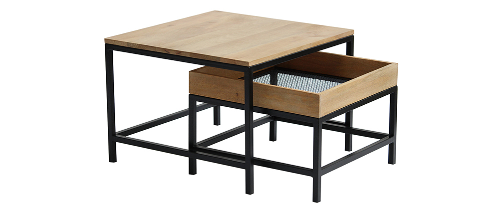 Tavolini salotto estraibili quadrati in legno massello di mango e metallo (set di 2) RACK