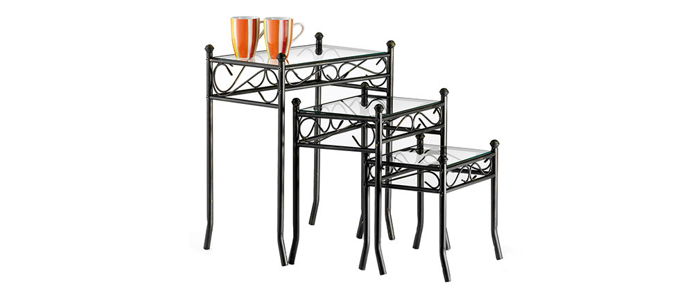 Tavolini stile ferro battuto e vetro temperato FLORENCE