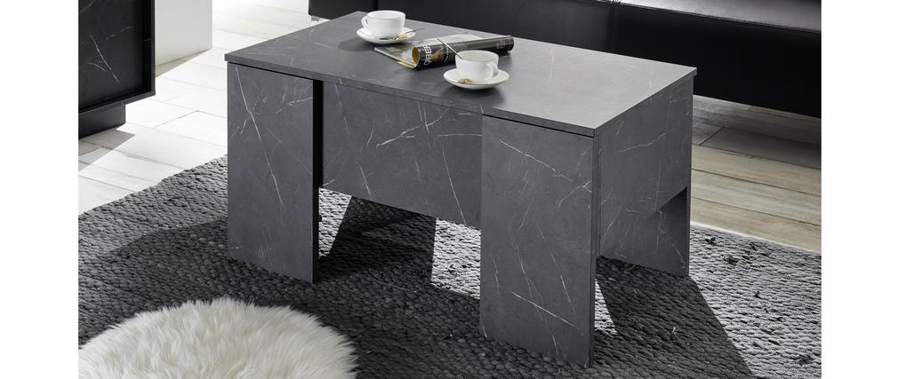 Tavolino alzabile di design con effetto marmo nero L92 cm CARRA