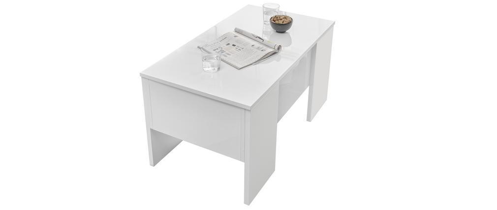 Tavolino alzabile di design laccato lucido bianco L92 cm COMO