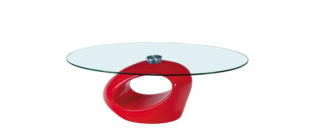 Tavolino basso da salotto in vetro e ABS Rondella – colore ...