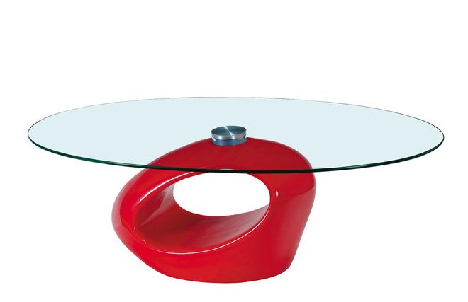 Tavolino basso da salotto in vetro e abs rondella – colore rosso ...