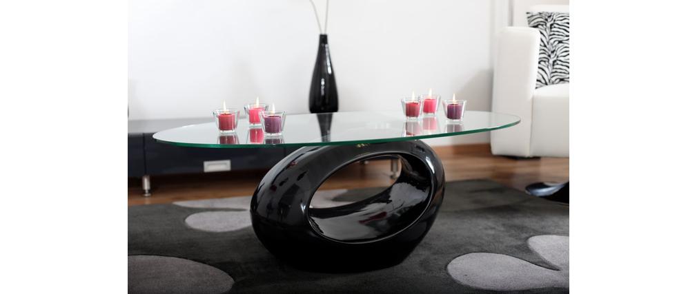 Tavolino basso da salotto RONDELLA in vetro e ABS – colore nero ...