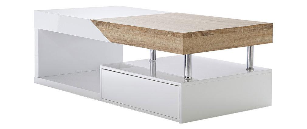 Tavolino basso design con cassetti laccato bianco e rovere SLICE