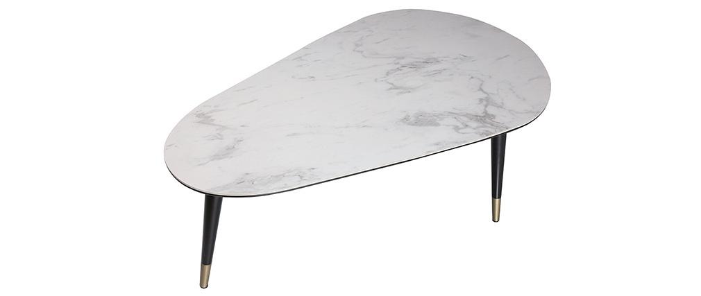 Tavolino basso design effetto marmo con piedi in legno e oro ALLURE
