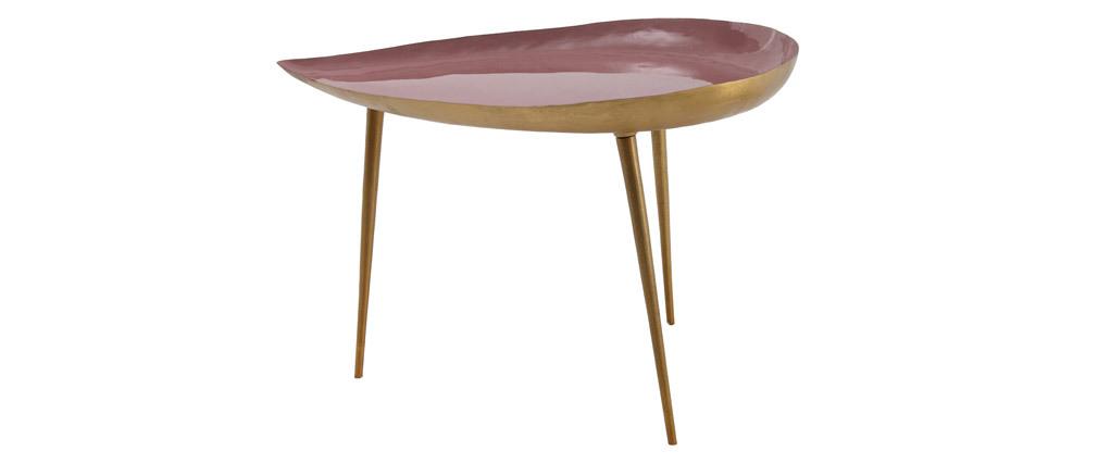 Tavolino basso design in acciaio laccato rosa DROP