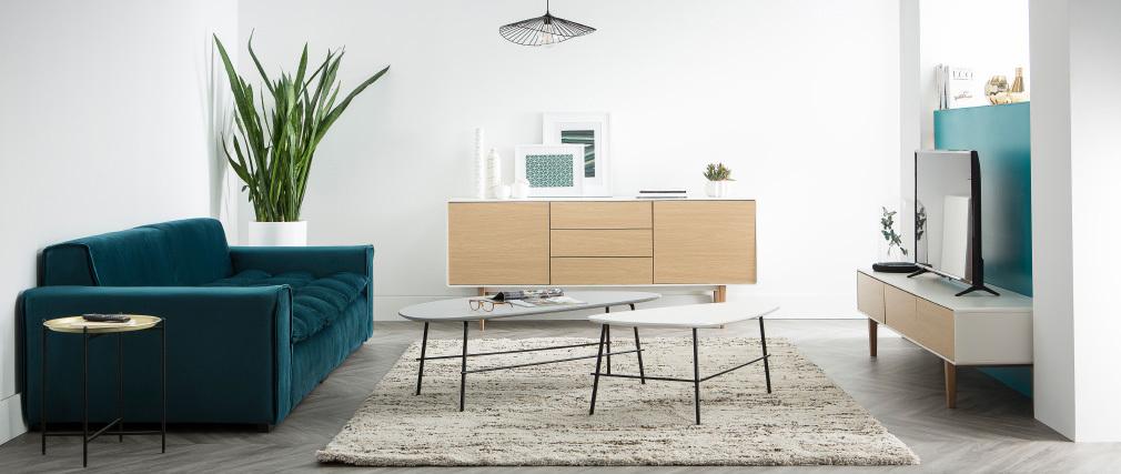 Tavolino basso design in metallo Grigio 131 cm BLOOM