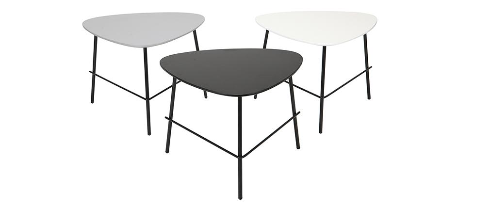 Tavolino basso design in metallo Nero L60 cm BLOOM