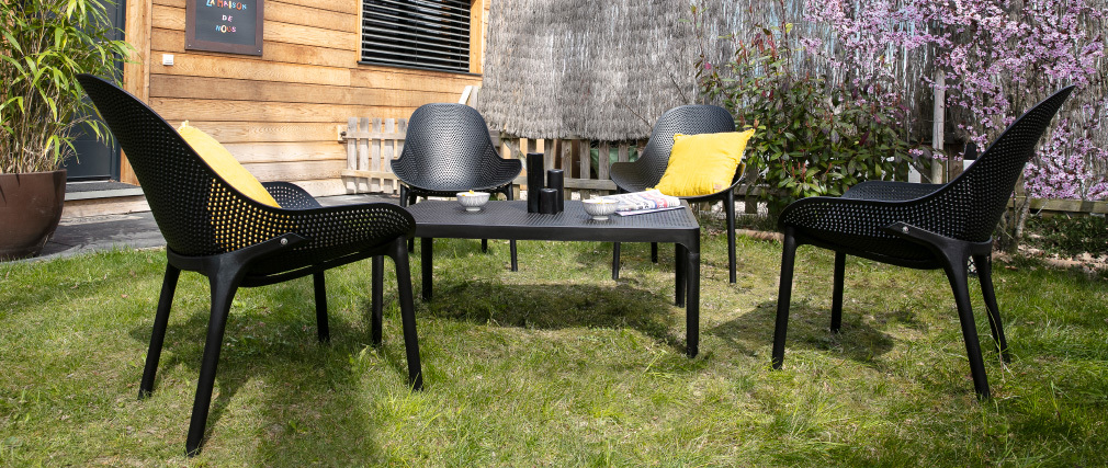 Tavolino basso design interno / esterno nero OSKOL