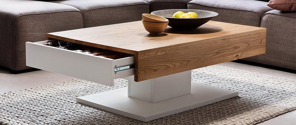 Tavolino basso design laccato bianco e rovere 2 cassetti SCAB