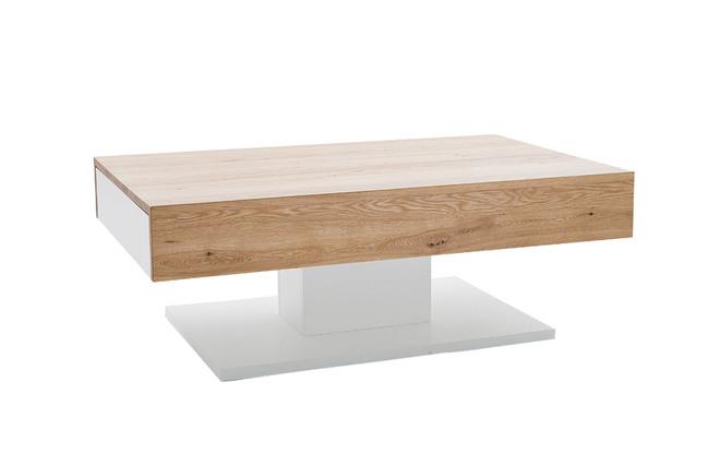 Tavolino basso design laccato bianco e rovere 2 cassetti scab miliboo