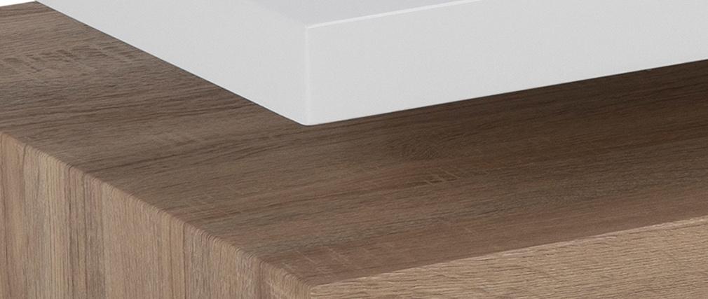 Tavolino basso design laccato bianco lucido e legno SONOMA