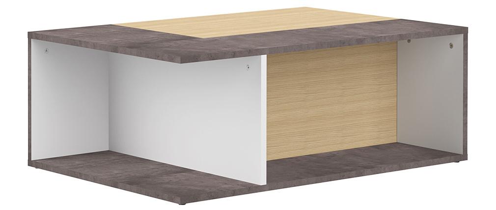 Tavolino basso design legno e grigio cemento amovibile QUADRA