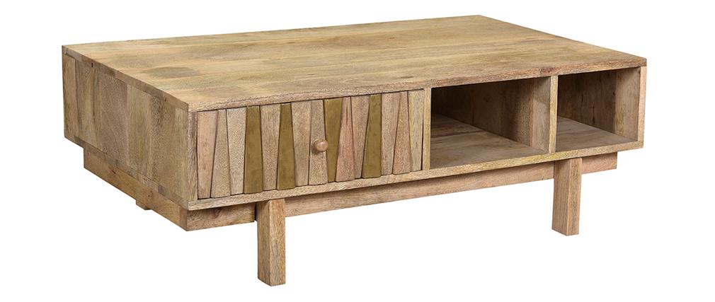 Tavolino basso design mango e ottone ZAIKA