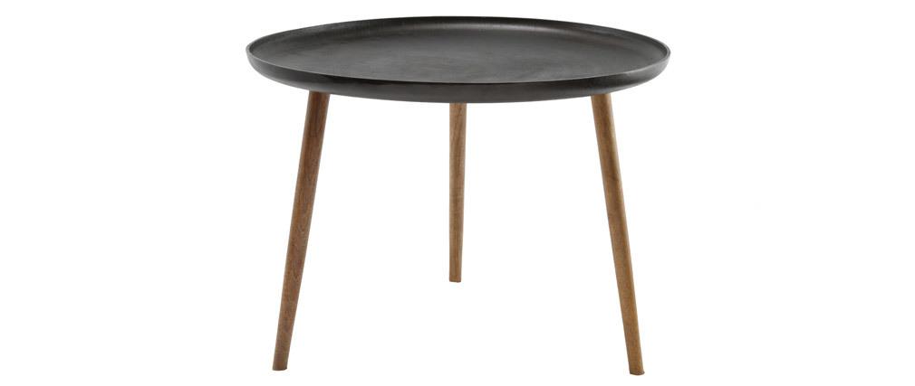 Tavolino basso design metallo e piedi legno LUMI