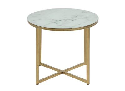 Tavolino Tre Piedi.Tavolino Basso Effetto Marmo E Piedi In Metallo 50 Cm Silas