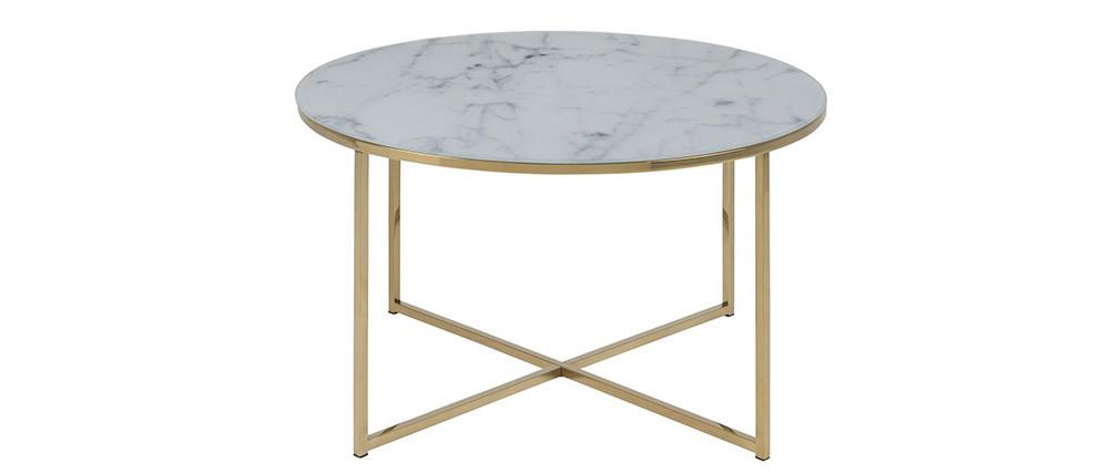 tavolino basso effetto marmo e piedi in metallo 80 cm SILAS