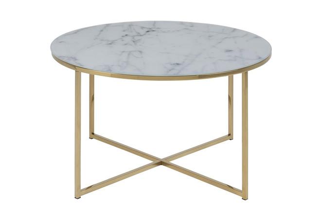 Tavolino basso effetto marmo e piedi in metallo dimensioni: 80 cm