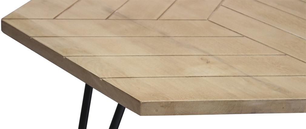 Tavolino basso esagonale inciso in mango e metallo nero VIBES