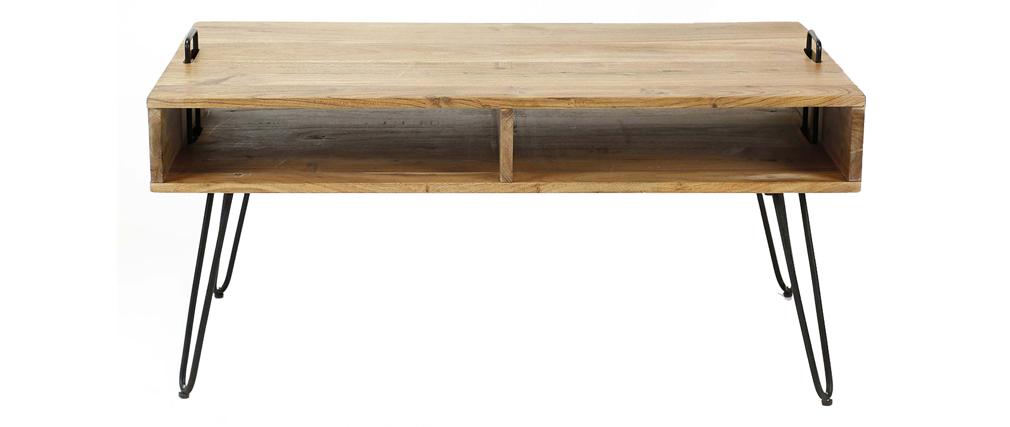 Tavolino basso in legno di acacia e metallo nero ALVIN