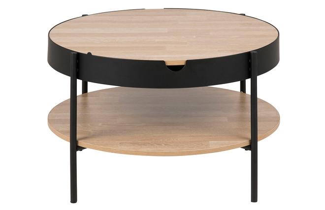 Tavolino basso in legno e metallo colore: nero diametro: 75 cm