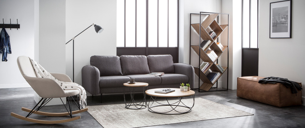 Tavolino basso in legno e metallo, colore. Nero, forma rotonda, dimensioni: 80 cm, modello: LACE