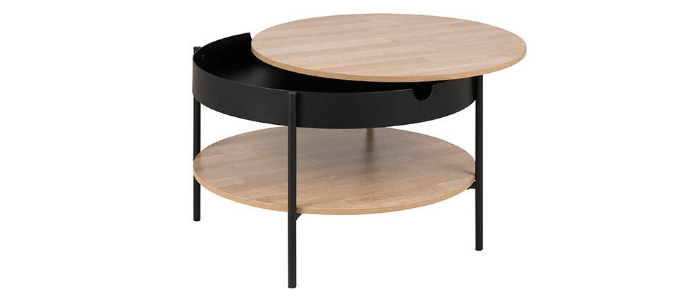 Tavolino basso in legno e metallo nero 75 cm SUIZE