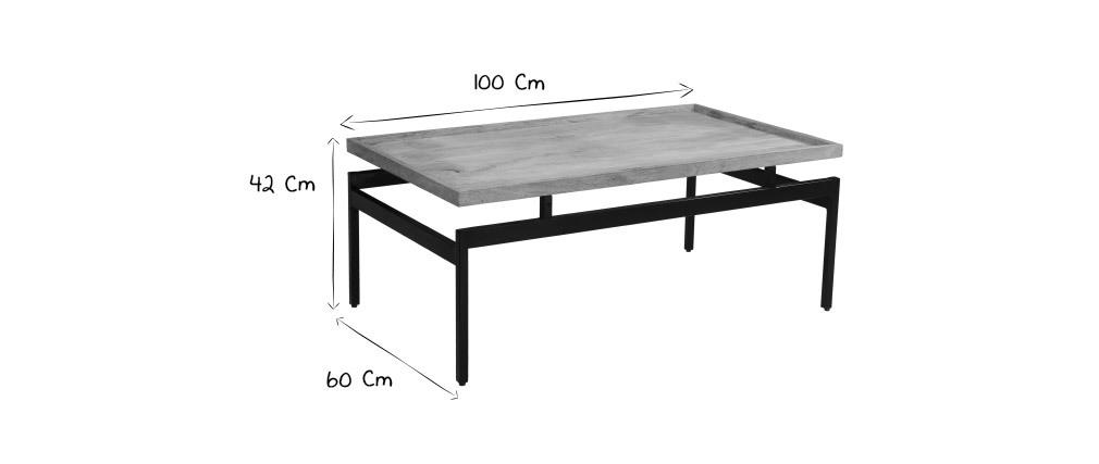 Tavolino basso in mango e metalo nero L100 cm FRAME