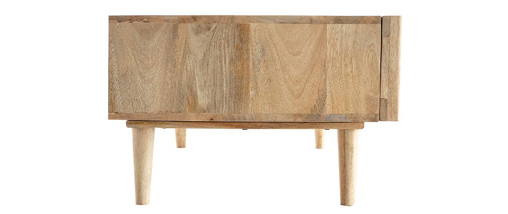 Tavolino basso in mango massiccio con ante scorrevoli ALBA