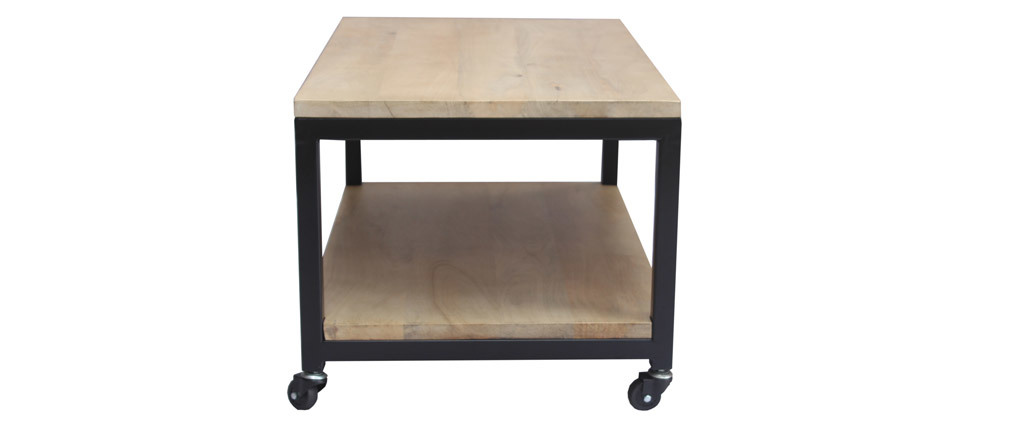 Tavolino basso industriale a rotelle legno e metallo FACTORY