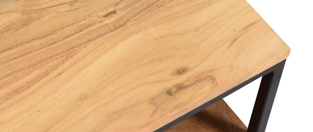 Tavolino basso industriale in acacia e metallo YONA
